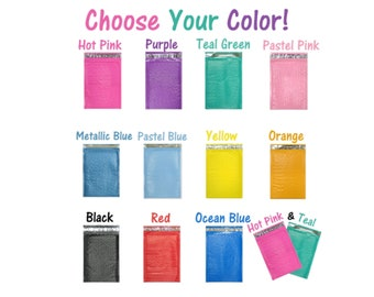 10, 25, 50, 100 Packs 4x8 inch Colored Poly Bubble Mailers! You Choose! 11 Colors ! Padded Envelope Mailers, Cushioned Peel N Seal Mail Bags
