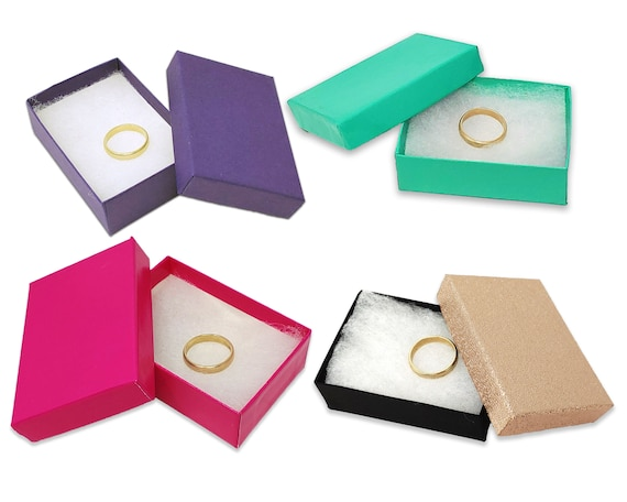 Bracelet Boxes 20 Pack 3.25x2.25x1 Cotton Filled Presentation Jewelry Boxes Teal Kraft Paper Gift Display Retail Craft  Ring Earring