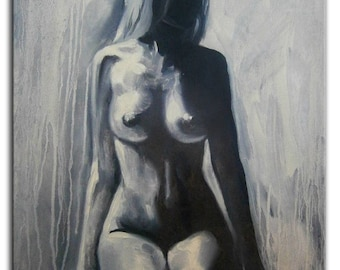 bec0a56693 Original Nude painting Black woman oil painting Female woman Naked body  Gift for him Gft for her Erotic black and white Love gift Sexy art