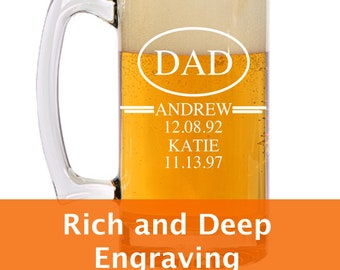 Custom Beer Mug, Large Beer Mug, Engraved Glass, Fathers Day Gift, Custom Dad Gift, Gift From Wife, Personalized Glass, Engraved Mug