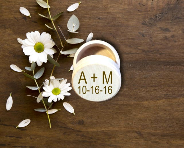 Personalized Wedding Ring Box, Wedding Ring Holder, Rustic Ring Box, Initials Box, Bridal Shower Gift, Wedding Gift, Ring Dish, INRB