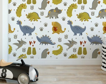 Colorful Dinosaur Kids Removable Wallpaper, Self Adhesive Wall Paper for Nursery and Kids Room, Peel and Stick Application CC143