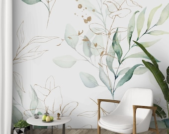 Green Eucalyptus Peel and Stick Wallpaper - Leaves and Branches Removable Wall Decal - Watercolor Botanical Self Adhesive Fabric Paper CC227