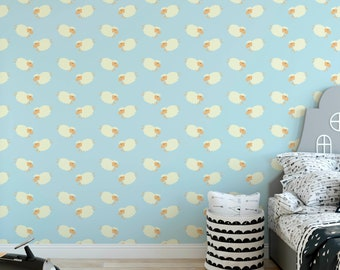 Counting Sheep Temporary Removable Wallpaper Self Adhesive Wall Paper Vinyl Dreamy Relaxing Kids Room Mural Peel And Stick CC159