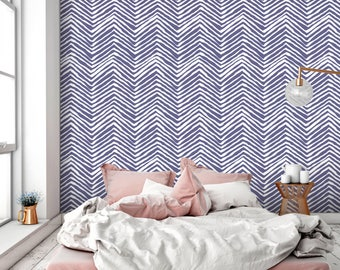 Twilight purple Chevron ZigZag removable wallpaper for renters self adhesive vinyl wall sticker Custom colors available CC034