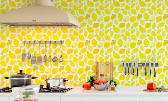 Lemon Wallpaper Watercolor Yellow Vibrant Wall Mural Self Adhesive Peel And  Stick Removable Wallpaper Fruit Wallpaper Floral Wallpaper CC076