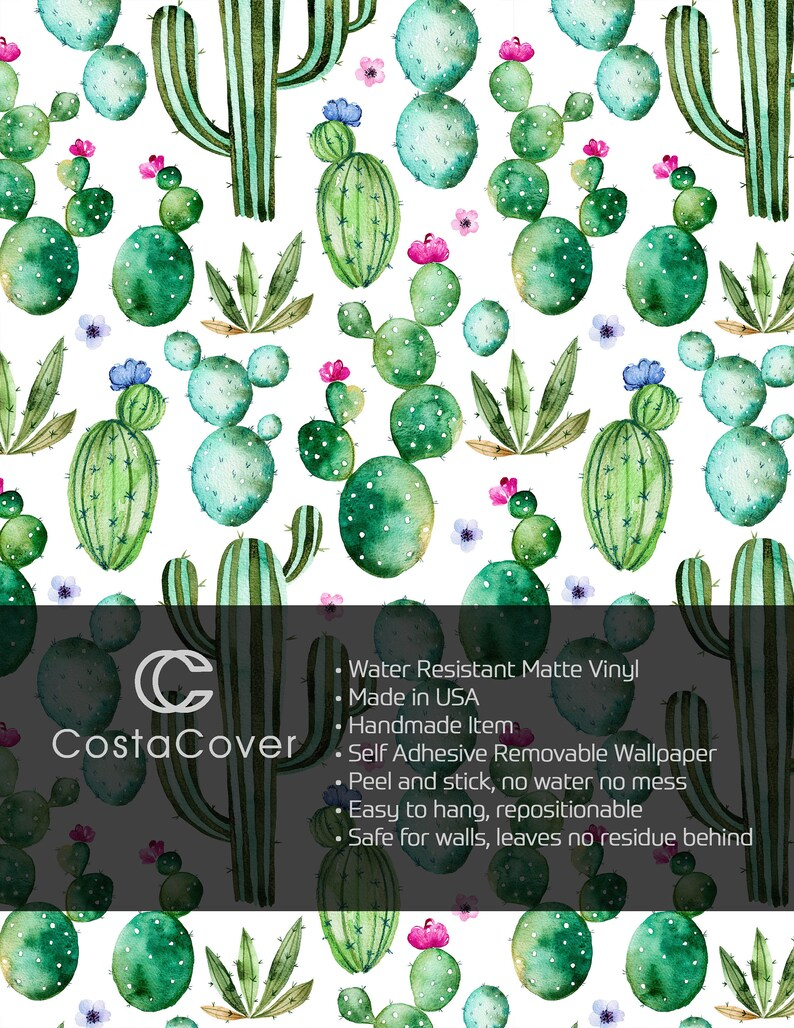Watercolor Hand Drawn Cacti Kids Wall Mural CC209 Self Adhesive Removable Floral Wallpaper Green Cactus with Purple Flowers