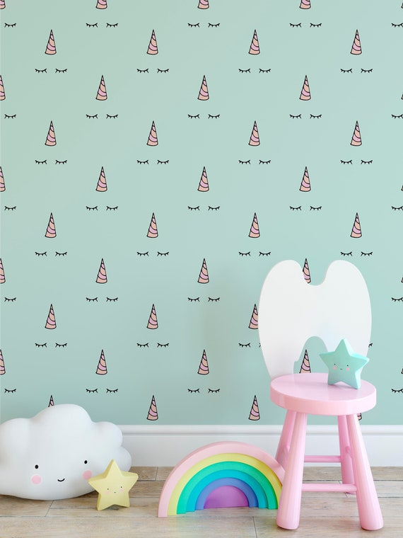 Temporary Sleeping Unicorn Removable Wallpaper With Minimalism Etsy
