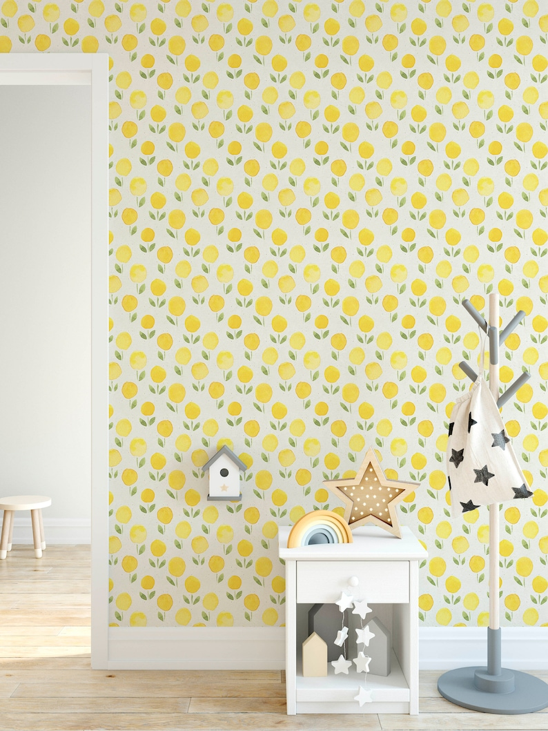 yellow marigold watercolor removable wallpaper, self adhesive minimalist floral wall paper on paper texture background, wall decor cc152