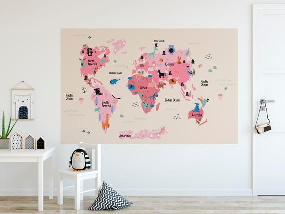World Map Removable Wall Sticker.Kids World Map Removable Wall Decal Sticker Self Adhesive Wall Etsy