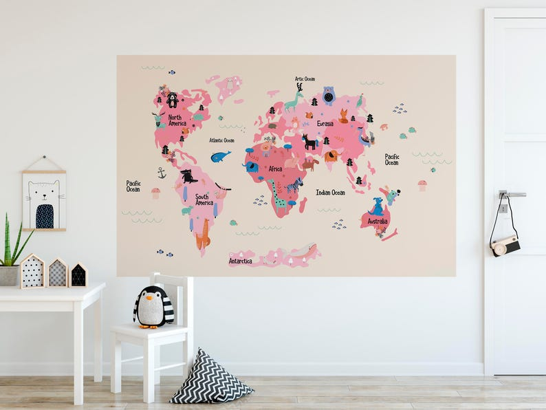 kids world map removable wall decal sticker self adhesive wall | etsy