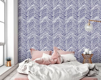 Purple Chevron Peel and Stick Wallpaper - Geometric Removable Wall Fabric- Self Adhesive Herringbone Wall Decal - Temporary Wall Decor CC034