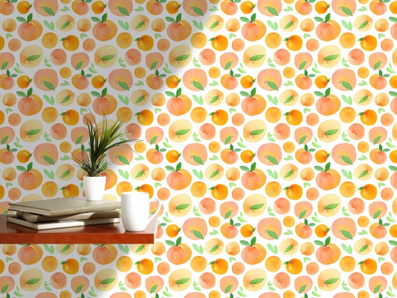Orange Wallpaper Fresh Watercolor Wall Paper Self Adhesive Removable Wall  Mural For Kitchen, Fruit Wallpaper Floral Wallpaper CC075