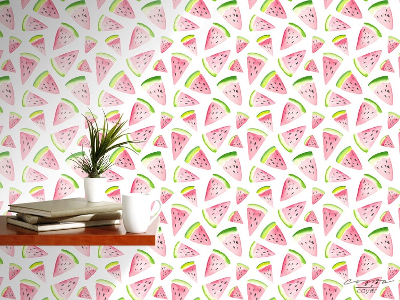 Watercolor Fresh Watermelon Self Adhesive Temporary Removable Wallpaper Vinyl for Walls Pink Exotic Fruit Peel and stick Wall Paper CC074