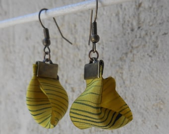 Textile earrings. Unique all in lightness. mustard yellow silk handpainted