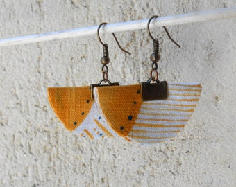 Textile earrings. Unique all in lightness. hand painted cotton