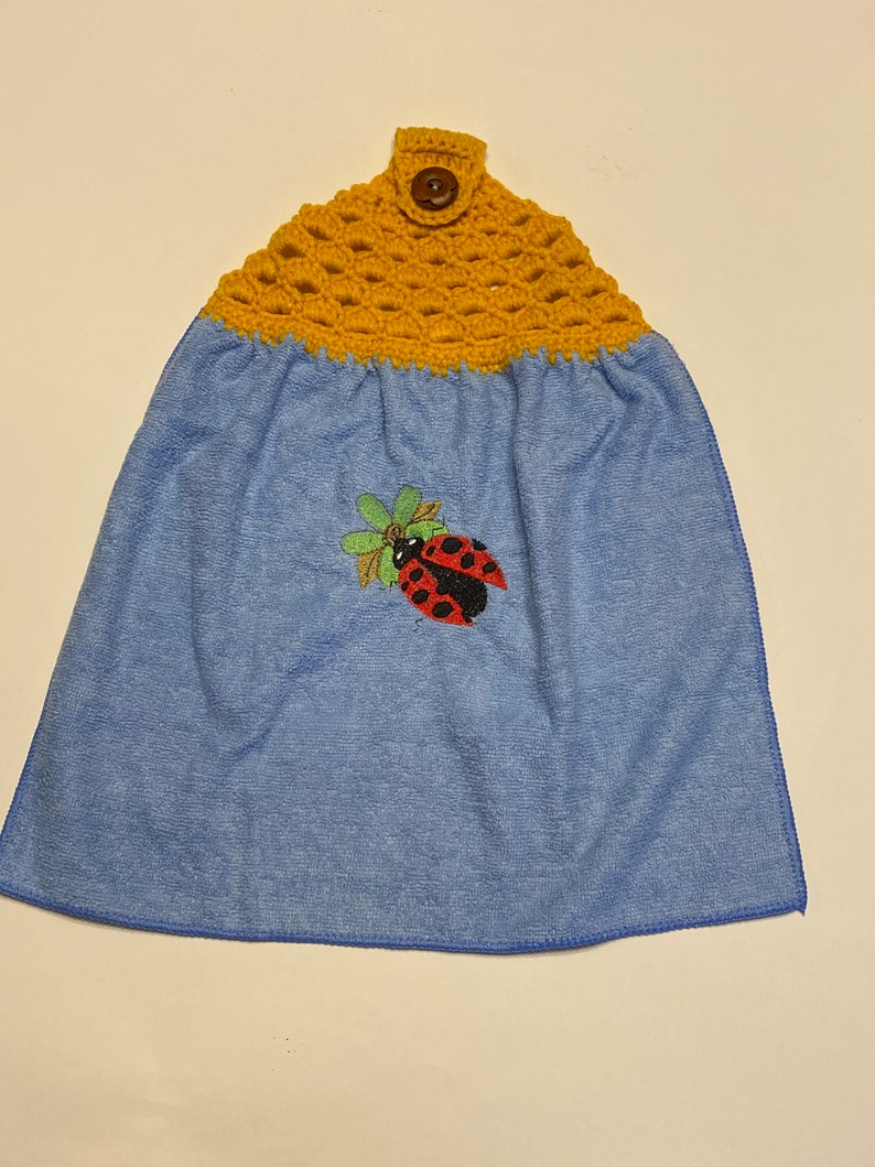 Ladybug on Green Embroidered and Crocheted Hanging Hand Towel