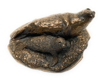 Bronze Sea Lion and Pup Paper Weight Cold Cast By Bronze Age Ltd Scotland