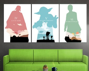 Minimalistische star wars poster set star wars trilogie poster etsy