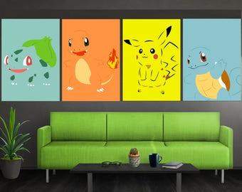 Minimalist Pokemon Poster Set Pokemon Wall Art Bulbasaur Charmander Squirtle Pikachu Poster Set Pokemon Print Pokemon Gift For Him