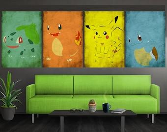 Vintage Minimalist Pokemon Wall Art Vintage Bulbasaur Charmander Squirtle Pikachu Poster Set Vintage Bulbasaur Vintage Pikachu