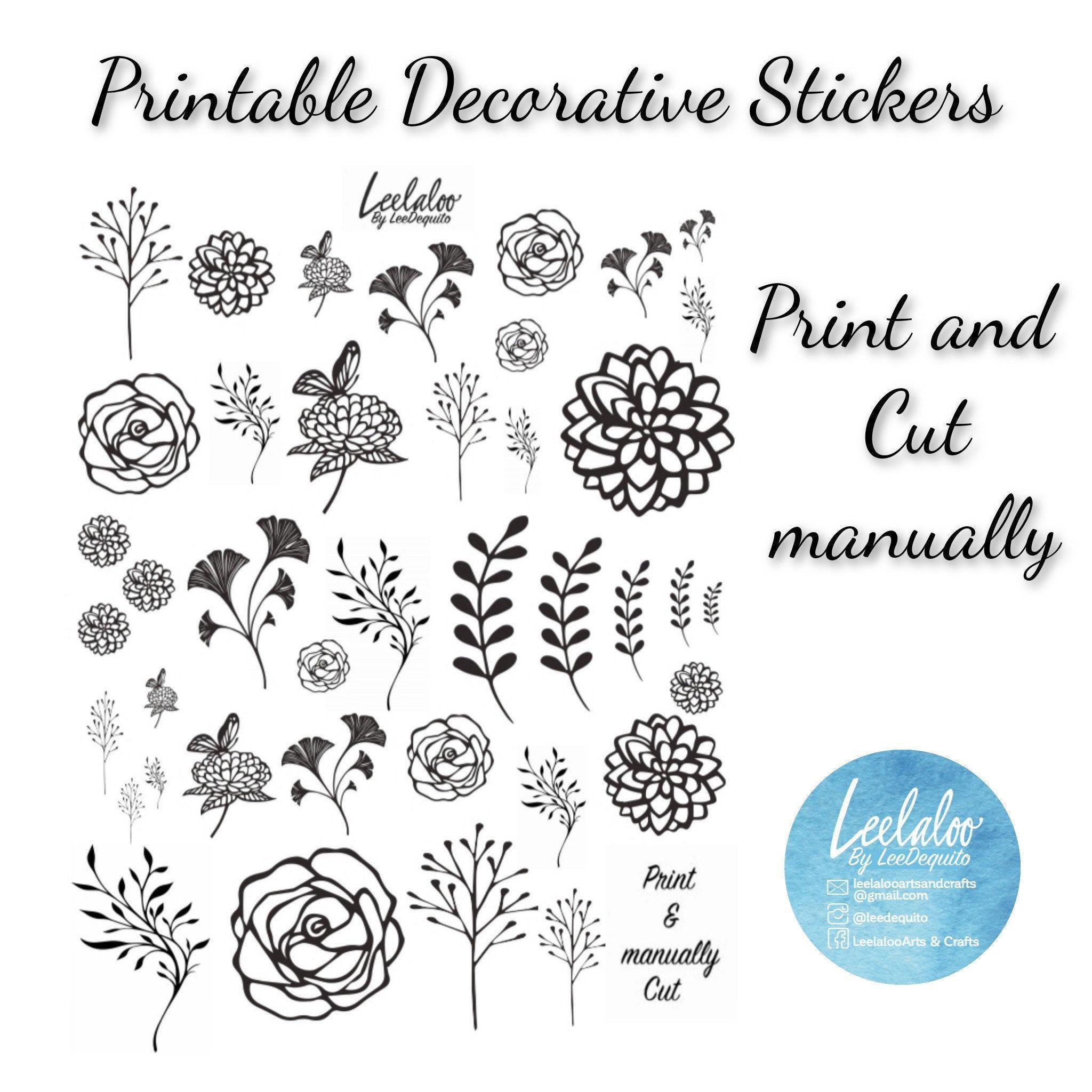 Printable Flower Stickers Botanical Stickers Printable Etsy