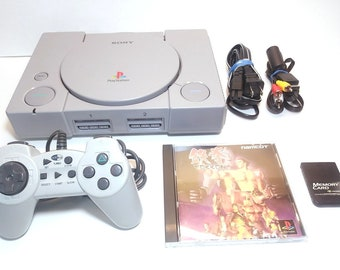 Playstation 1 PS1 Console System Region Free Chip Modded, Japanese Tekken, Turbo Controller, Memory Card, AC, AV, SCPH-5501, Cleaned In/Out