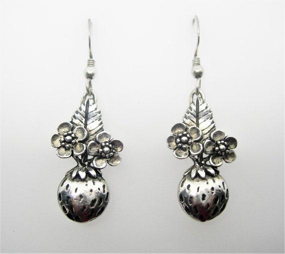 Strawberries sterling silver earrings