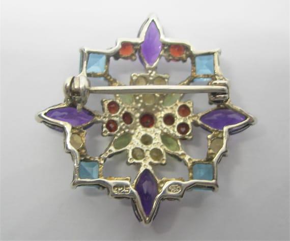 Sterling silver and gemstones brooch - image 8