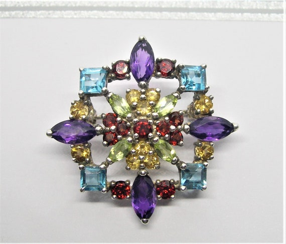 Sterling silver and gemstones brooch - image 10