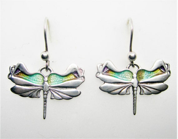 Art Nouveau silver cloisonné earrings Dragonfly