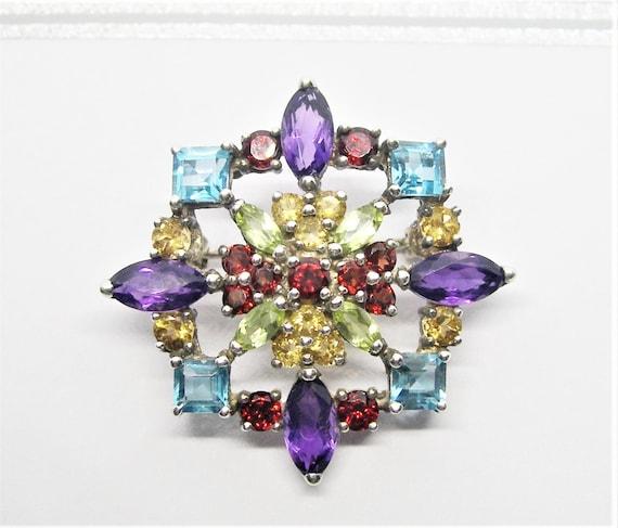 Sterling silver and gemstones brooch - image 1
