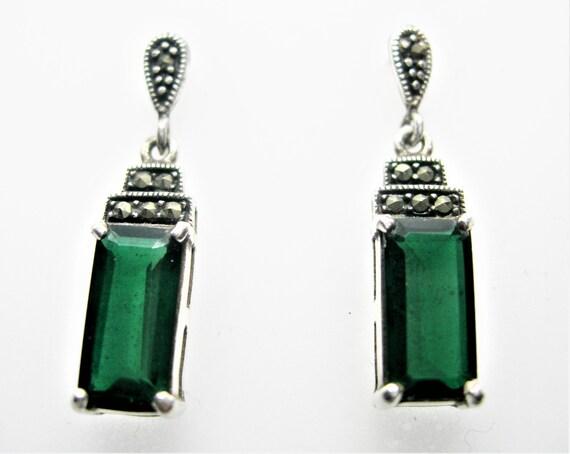 Art Deco Emerald silver earrings