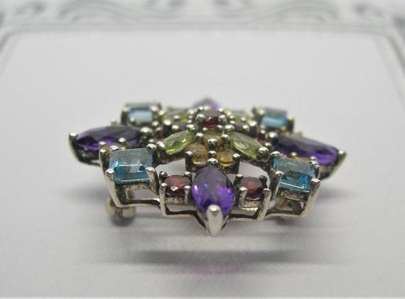 Sterling silver and gemstones brooch - image 9