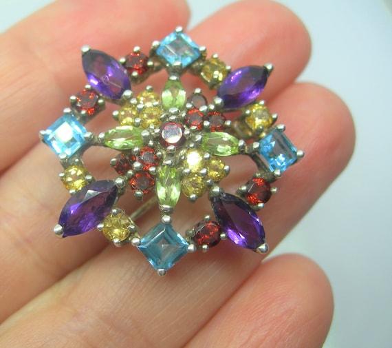 Sterling silver and gemstones brooch - image 5