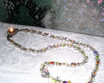 Art Deco , crystal necklace, graduated, rainbow , sparkling, vintage, beaded