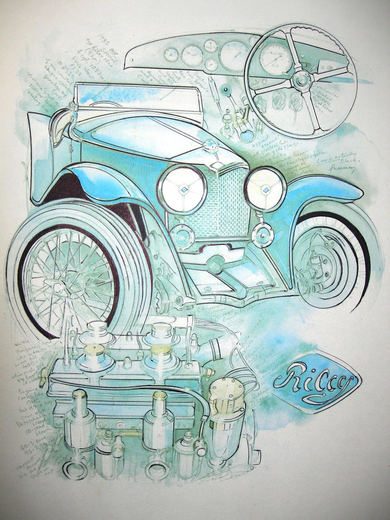 Vintage Car Water Colour Pencil On Paper Collage Drawing Painting