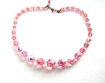 Art Deco, pink crystal, necklace, graduated, sparkling, vintage, hand made,beaded