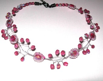 Pink necklace, choker, hand made, wire necklace, vintage, beads