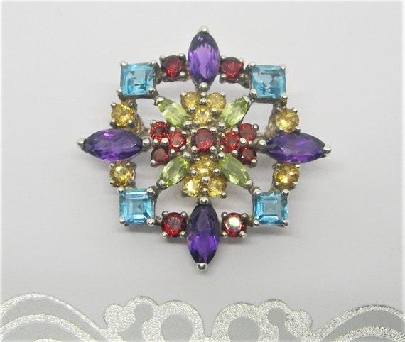 Sterling silver and gemstones brooch - image 3