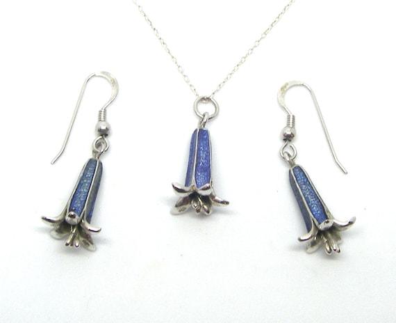 Blue bells,set, Sterling silver,925,pendant,earrin