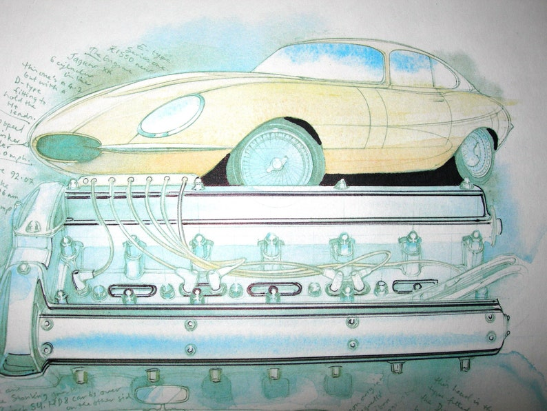 Vintage Car Water Colour Pencil On Paper Drawing Painting