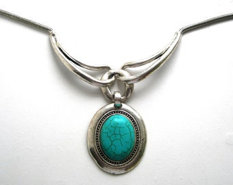 A large, turquoise,pendant, necklace,silver tune, oval,vintage