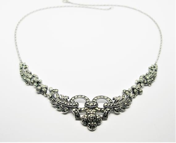 Art Nouveau silver marcasite necklace