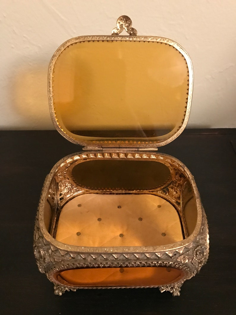 Hollywood Regency Jewelry Casket Vintage Vintage Jewelry Box Vintage Jewelry Casket Ormolu Jewelry Casket Glass Jewelry Case