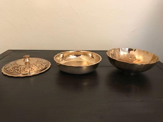 Vintage Brass Bowls Set of 3