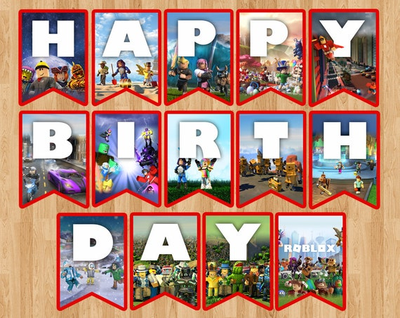 Roblox Birthday Banner Roblox Flag Pennant Party Badge Etsy