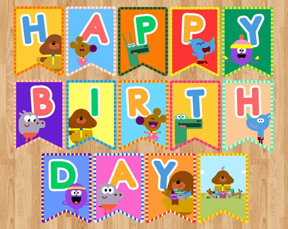 Hey Duggee Duggie Happy Birthday Banner Flag Pennant Party