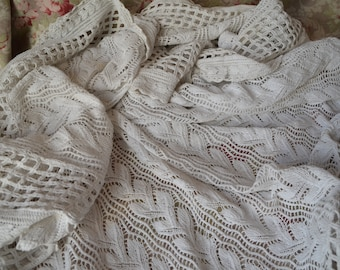 Vintage hand knitted pure cotton bed cover or throw, matching sham