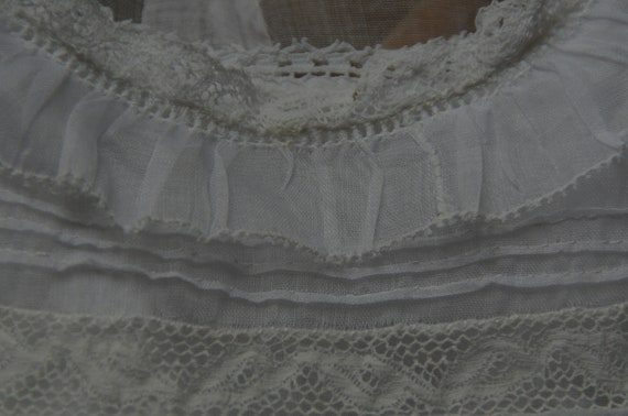 Antique French heirloom organza and lace baptism … - image 5
